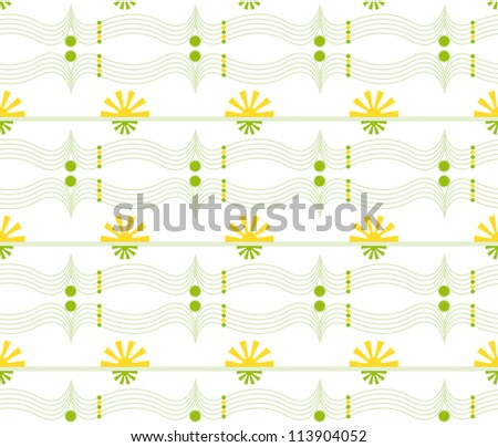 Vector Seamless geometric floral pattern - stock vector