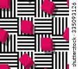 Vector seamless geometric pattern. Flat style pink cube and black, white striped square background. Trendy design concept for fashion textile print. - stock vector