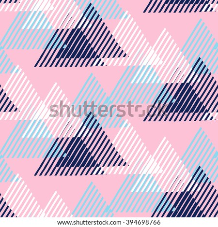 Vector seamless geometric pattern with striped triangles, abstract dynamic shapes in blue, pink, white colors. Hand drawn funky background with lines in 1990s fashion style. Modern tech textile print. - stock vector