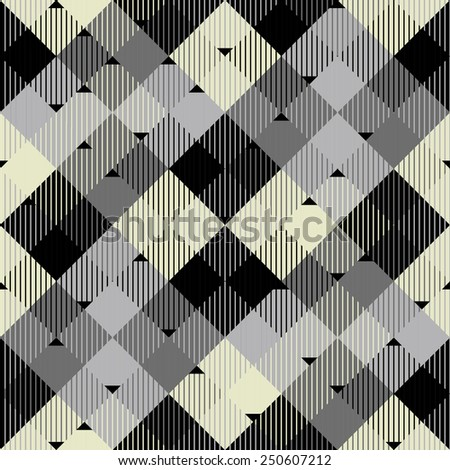 vector seamless geometric print with diagonal stripes and triangles - stock vector