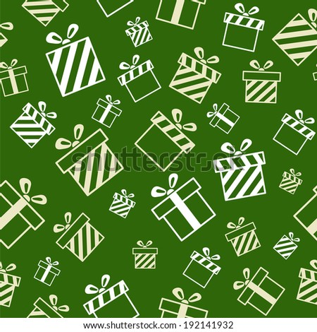 Vector Seamless Gift Pattern on green background