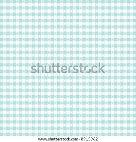vector, Seamless Gingham Pattern in pastel aqua & white for sewing, decorating, backgrounds. EPS8 file includes pattern swatch that seamlessly fills any shape. - stock vector