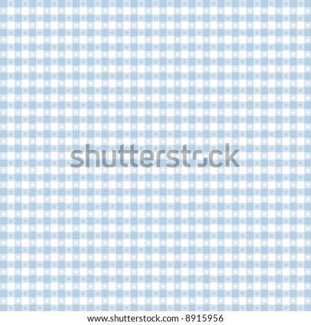 vector, Seamless Gingham Pattern in pastel blue & white for sewing, decorating, backgrounds. EPS8 file includes pattern swatch that will seamlessly fill any shape. - stock vector