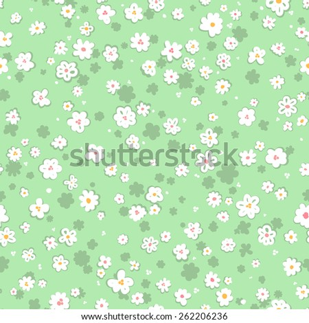 vector seamless graphical minimalistic gentle ditsy flower print - stock vector