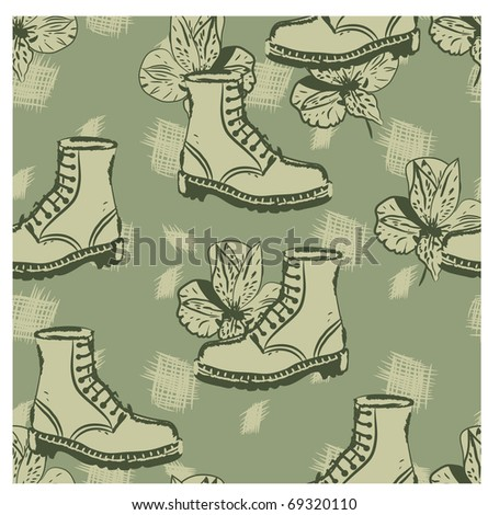 vector seamless grunge background with boots and flowers, clipping masks