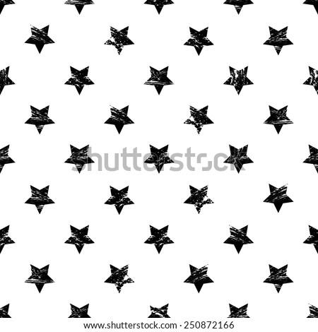 vector seamless grunge black and white stars print - stock vector