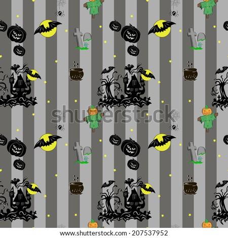 Vector Seamless Halloween Pattern. With a pumpkin, spider, scarecrow, house, moon, bat, caldron, tombstone, zombi, stars. - stock vector