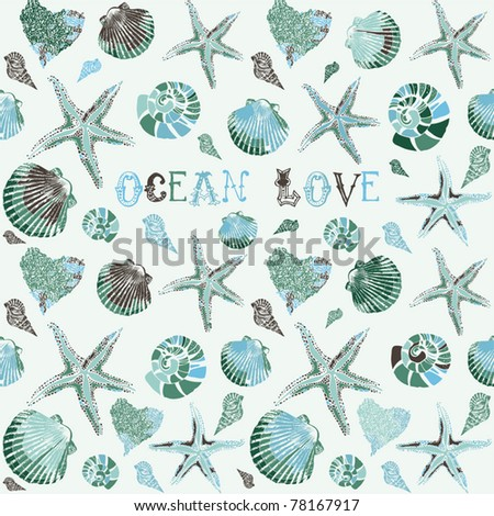 Vector seamless hand drawn background underwater tropical fauna - stock vector