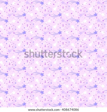 Vector seamless hand drawn pattern with falling stars, comet and sky in doodle style. Funky ditsy background with fireworks and holiday lights. Childish, cute print for kids textile design. pink color - stock vector