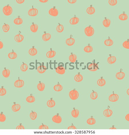 Vector seamless hand drawn pumpkin background for Halloween - stock vector