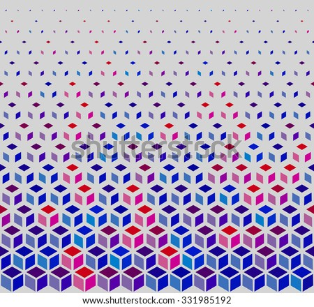Vector Seamless Hexagonal Cube Halftone White Outline Grid Pattern In Blue Pink and Red Background - stock vector