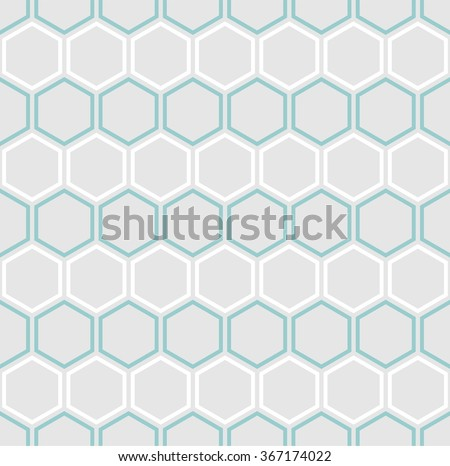 Vector seamless hexagons pattern in white and teal on grey background - stock vector