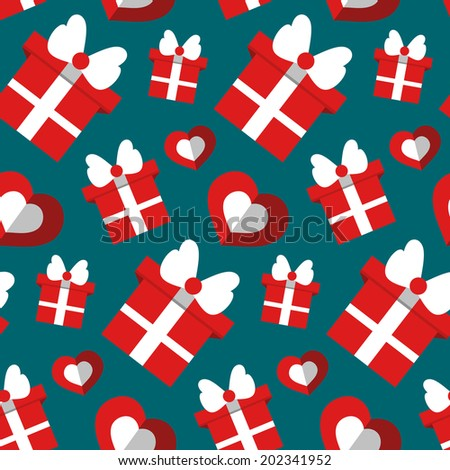 Vector seamless holiday pattern with gift boxes and hearts. Endless gift background in flat style - stock vector