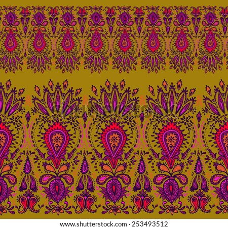 vector seamless horizontal decorative border in Indian style. paisley and floral motifs in a natural colored design.  - stock vector