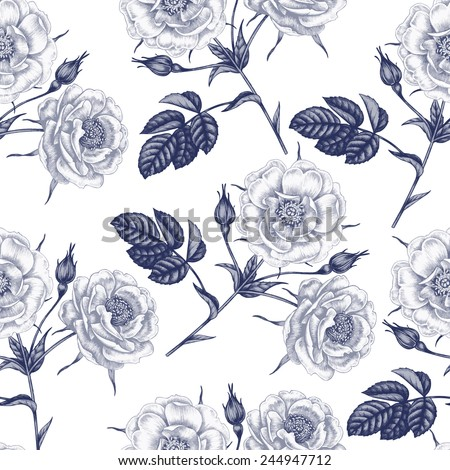 Vector seamless illustration of flowers on a white background. Floral ornament. Design for fabrics, textiles, paper, wallpaper, Internet. Victorian style. Roses. Vector. - stock vector