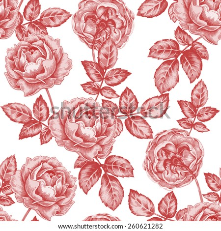 Vector seamless illustration of flowers on a white background. Floral ornament. Design for fabrics, textiles, paper, wallpaper, Internet. Victorian style. Roses.