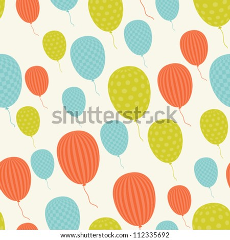 Vector seamless in retro style pattern, flying balloons. - stock vector