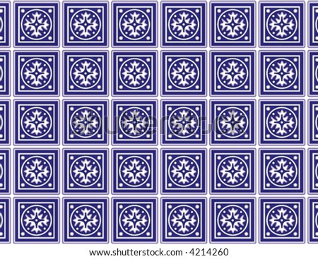 vector, SEAMLESS KITCHEN TILES, classic blue-white ceramic tile pattern. EPS8 compatible file includes pattern swatch that will seamlessly fill any shape. - stock vector