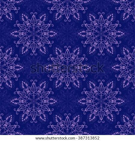 Vector Seamless Mandala Pattern over dark blue - stock vector