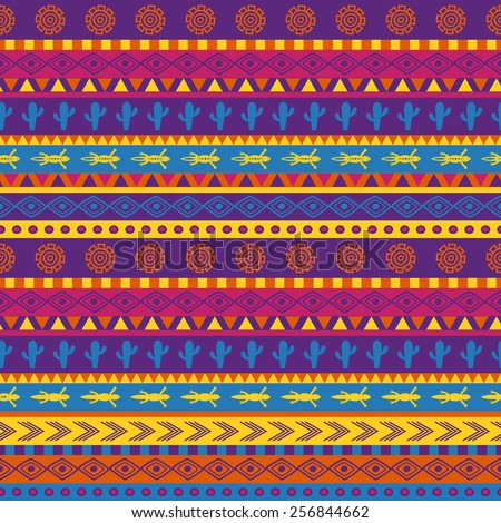 vector seamless mexican pattern in bright color scheme - stock vector