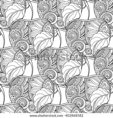 Vector Seamless Monochrome Fruit Pattern. Hand Drawn Decorative Apple - stock vector