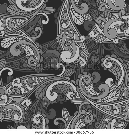 vector seamless monochrome paisley pattern in greys