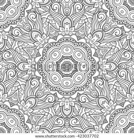 Vector Seamless Monochrome Pattern For Coloring. Hand Drawn Decorative Scales