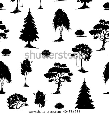 Vector seamless natural pattern with trees. Black on White. Hand drawn vector illustration. Ink sketch. For prints, backgrounds, wrapping, fabric and other design. - stock vector