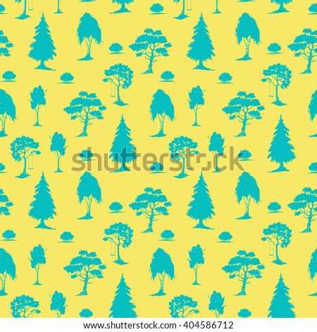 Vector seamless natural pattern with trees. Blue on yellow. Hand drawn vector illustration. Ink sketch. For prints, backgrounds, wrapping, fabric and other design. - stock vector