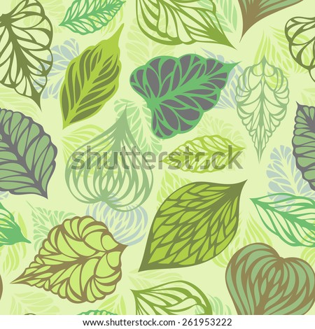 Vector seamless nature pattern. Various ornate leaves on light background.