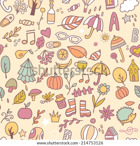 Vector seamless nature pattern  with cute elements, houses,trees, umbrella,leaves,cups,hearts