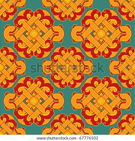 Vector Seamless Oriental Tile (background, wallpaper, texture, pattern) - stock vector