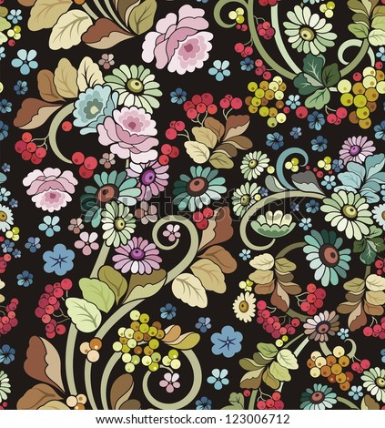 Vector seamless ornament wallpaper, retro floral background in vintage style. - stock vector