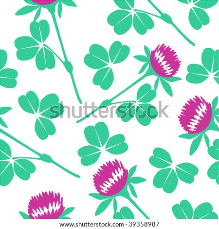 Vector. Seamless ornament with shamrock in color 76. More seamless see in portfolio - stock vector