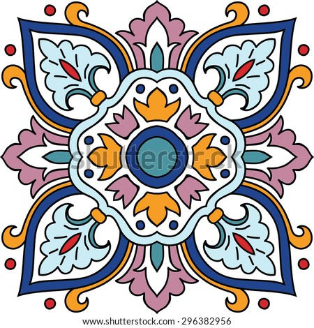 Vector seamless ornamental tile background. Italian style - stock vector
