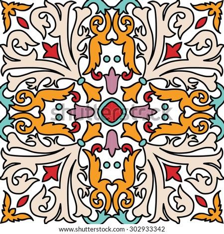Vector seamless ornamental tile background. Italian style - stock vector
