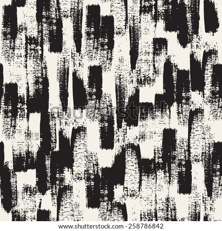 Vector seamless pattern. Abstract background with black brush strokes. Monochrome hand drawn texture. Modern graphic design. - stock vector