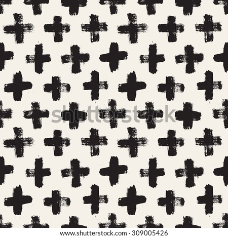 Vector seamless pattern. Abstract background with brush strokes. Monochrome hand drawn print. Hipster monochrome texture with crosses or pluses. Trendy graphic design. - stock vector