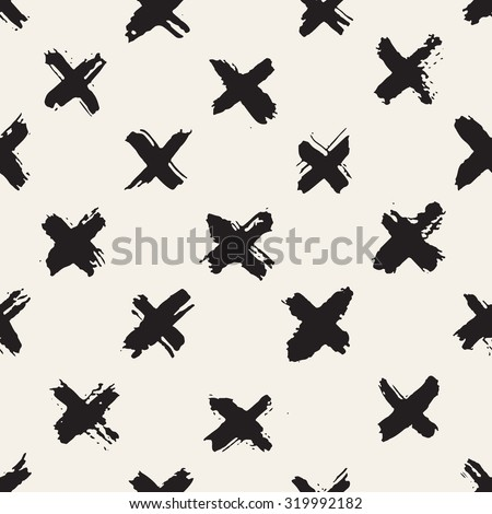 Vector seamless pattern. Abstract background with brush strokes. Monochrome hand drawn print with hipster X. Trendy monochrome texture with pluses or crosses, simbols of kisses. Trendy graphic design. - stock vector