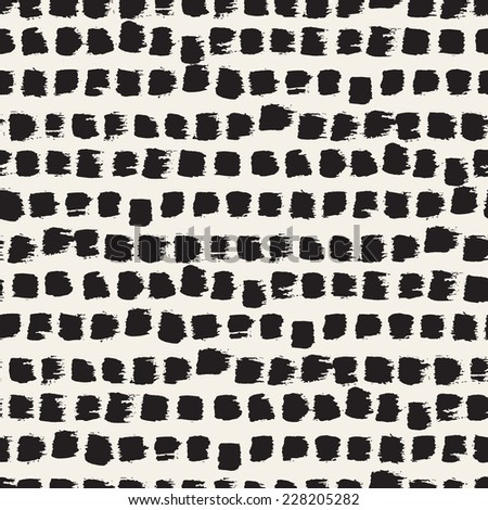 Vector seamless pattern. Abstract background with brush strokes. Monochrome hand drawn texture - stock vector