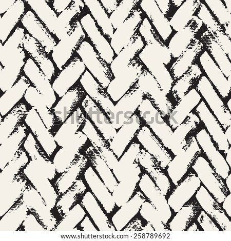 Vector seamless pattern. Abstract background with brush strokes. Monochrome hand drawn texture with herringbone or chevron. Modern graphic design. - stock vector