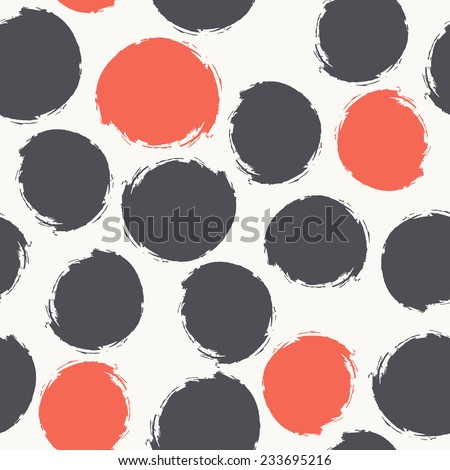 Vector seamless pattern. Abstract background with round brush strokes. Simple hand drawn texture with red and blue circles - stock vector