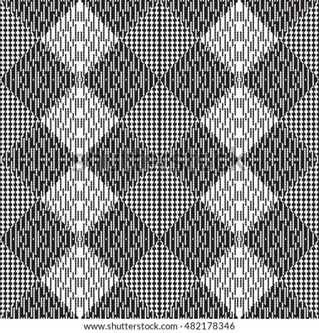 Vector seamless pattern, abstract geometric background illustration, fabric textile pattern black and white