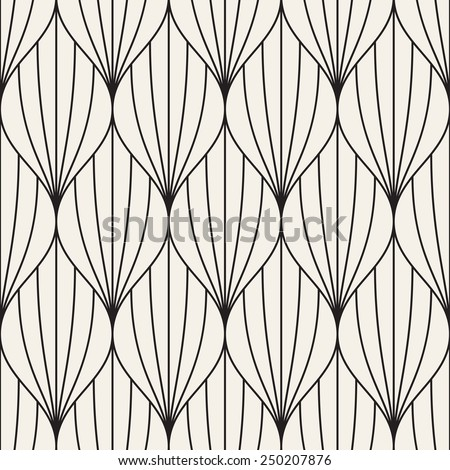 Vector seamless pattern. Abstract geometric background. Linear monochrome grid. Simple elegant petals - stock vector
