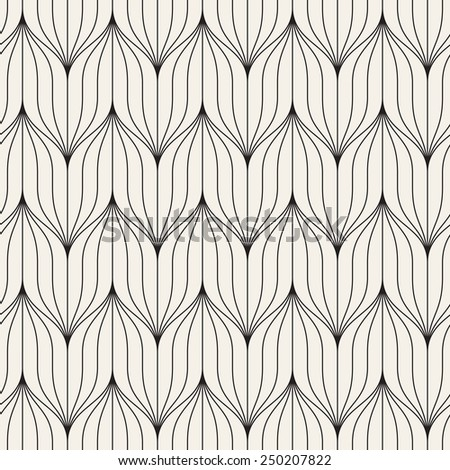 Vector seamless pattern. Abstract geometric background. Linear monochrome grid. Striped weave trellis - stock vector