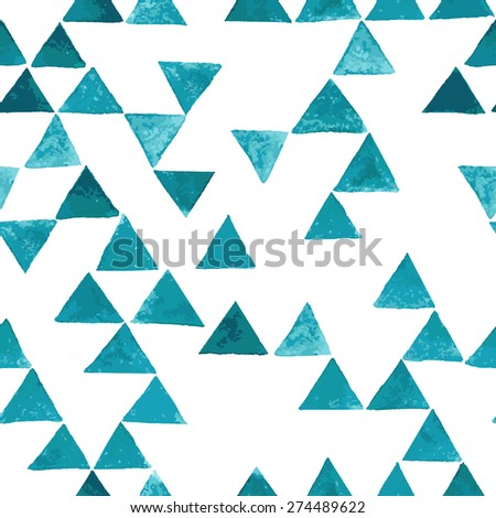 Vector seamless pattern. Abstract geometric background. Watercolor texture with blue triangles. Hipster trendy graphic design. - stock vector