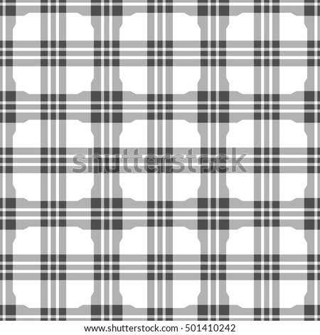 Vector seamless pattern. Abstract geometric plaid monochrome background