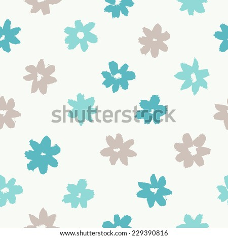 Vector seamless pattern. Abstract grunge texture with blue flowers. Cute background with daisies. Primitive painting style - stock vector