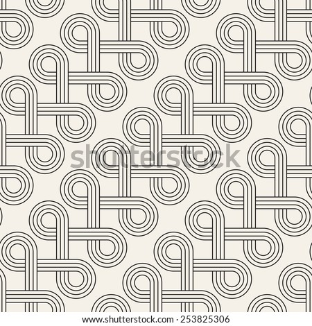Vector seamless pattern. Abstract stylish background. Wavy geometric texture with winding diagonal ribbon. Monochrome striped loopy ribbon - stock vector