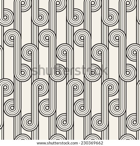 Vector seamless pattern. Abstract stylish background. Wavy geometric texture with winding ribbon. Monochrome striped loopy ribbon - stock vector